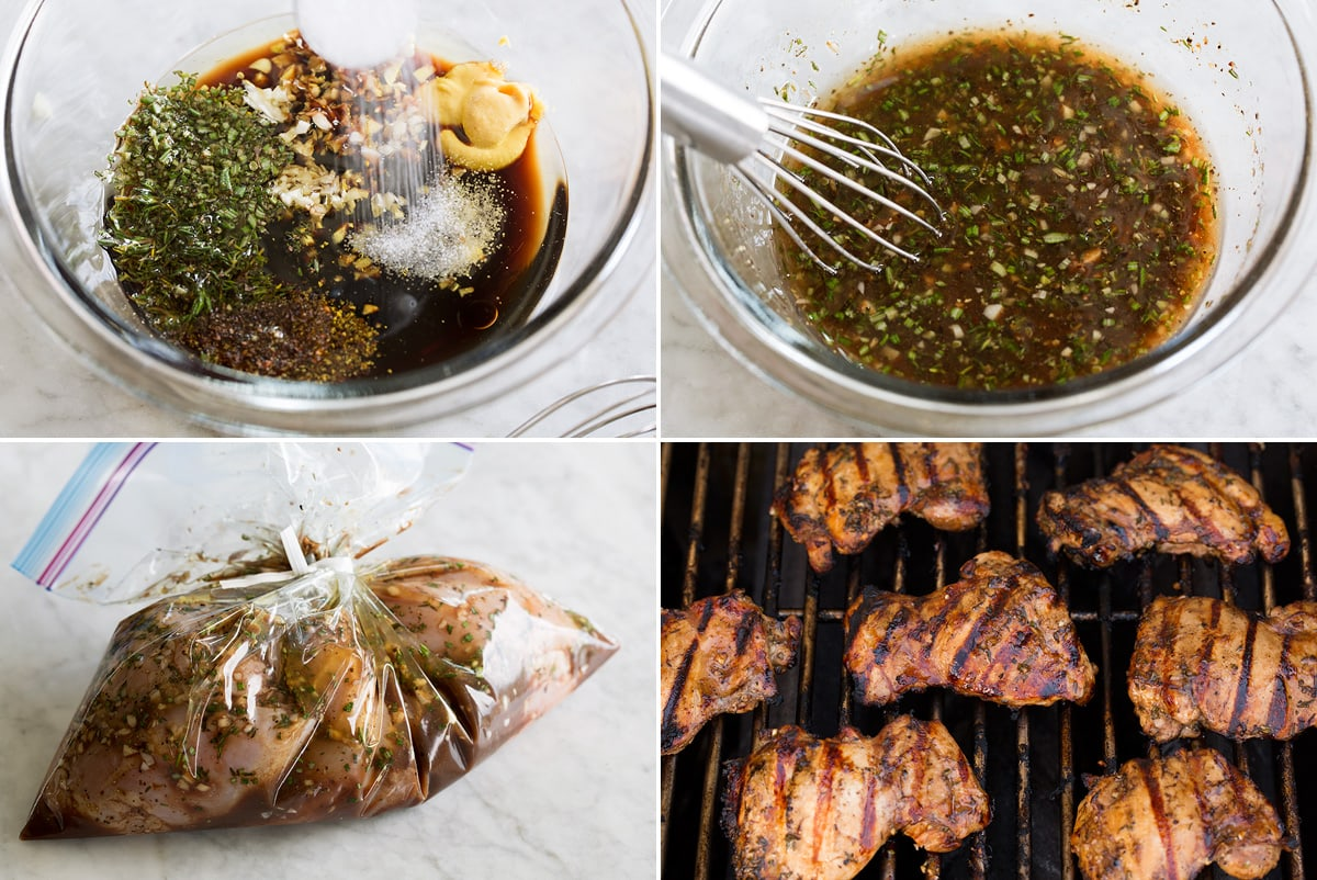 Collage of four photos showing steps of making balsamic marinade, soaking with chicken in bag, then grilling.
