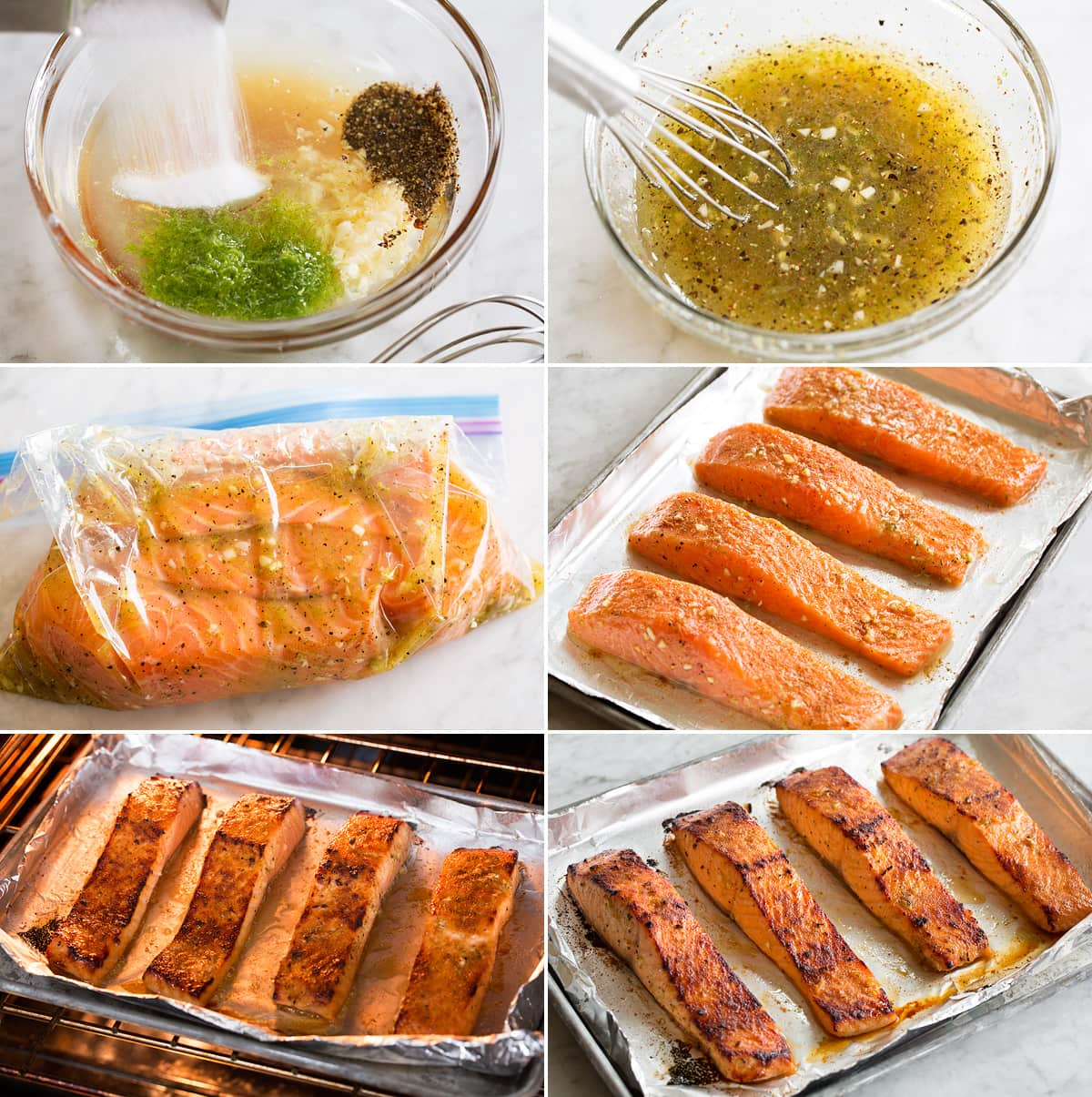 Collage of six photos showing steps of making salmon marinade, soaking salmon in marinade, and aligning on foiled lined baking sheet. Then it's shown under the broiler and completed.