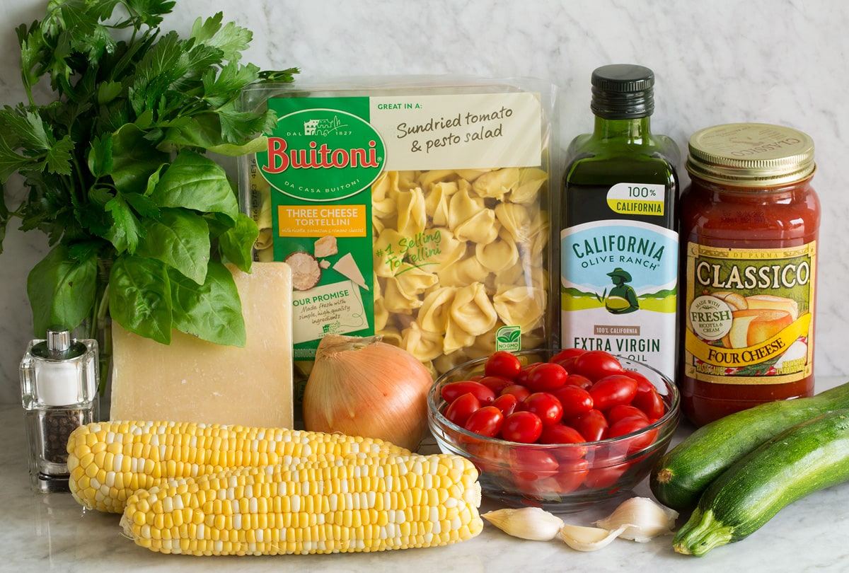 Photo: Ingredients used to make cheese tortellini with vegetables shown here.