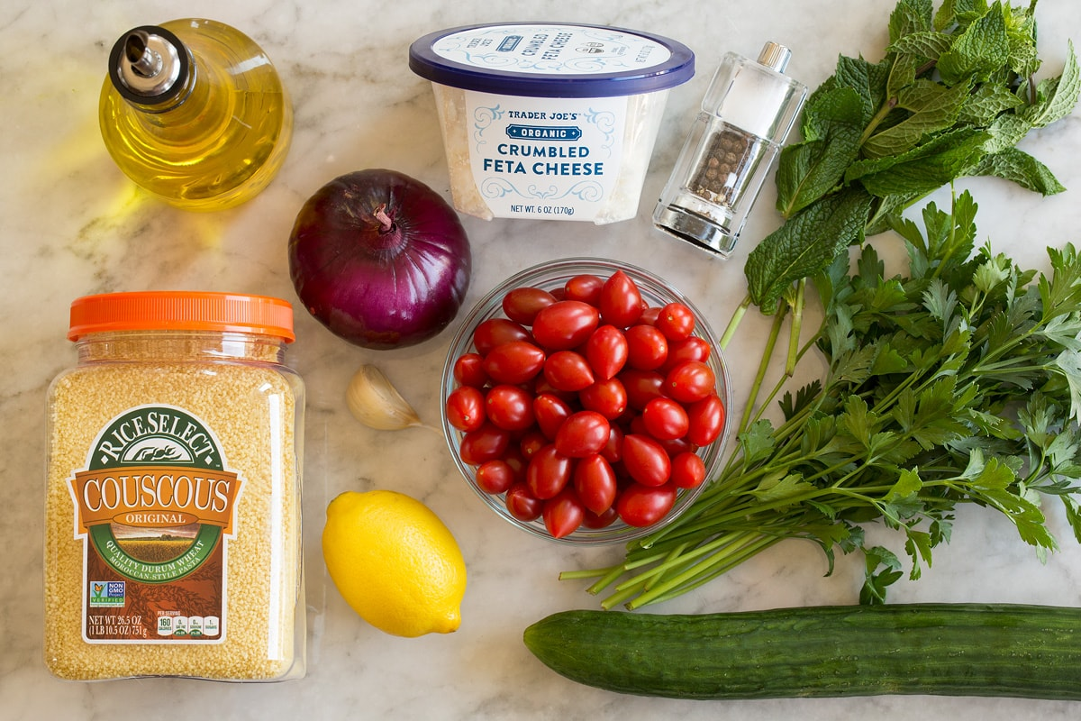 Photo of ingredients used to make couscous salad.
