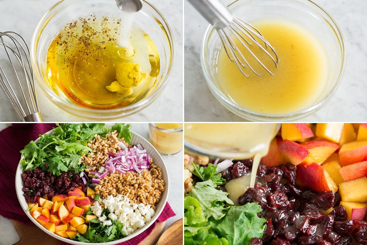 Collage of four photos showing how to make dressing, then pour over a farro salad.