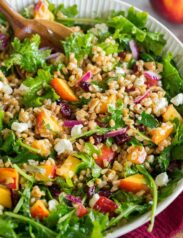 Photo: Completed Farro Salad shown from a close up side angle.