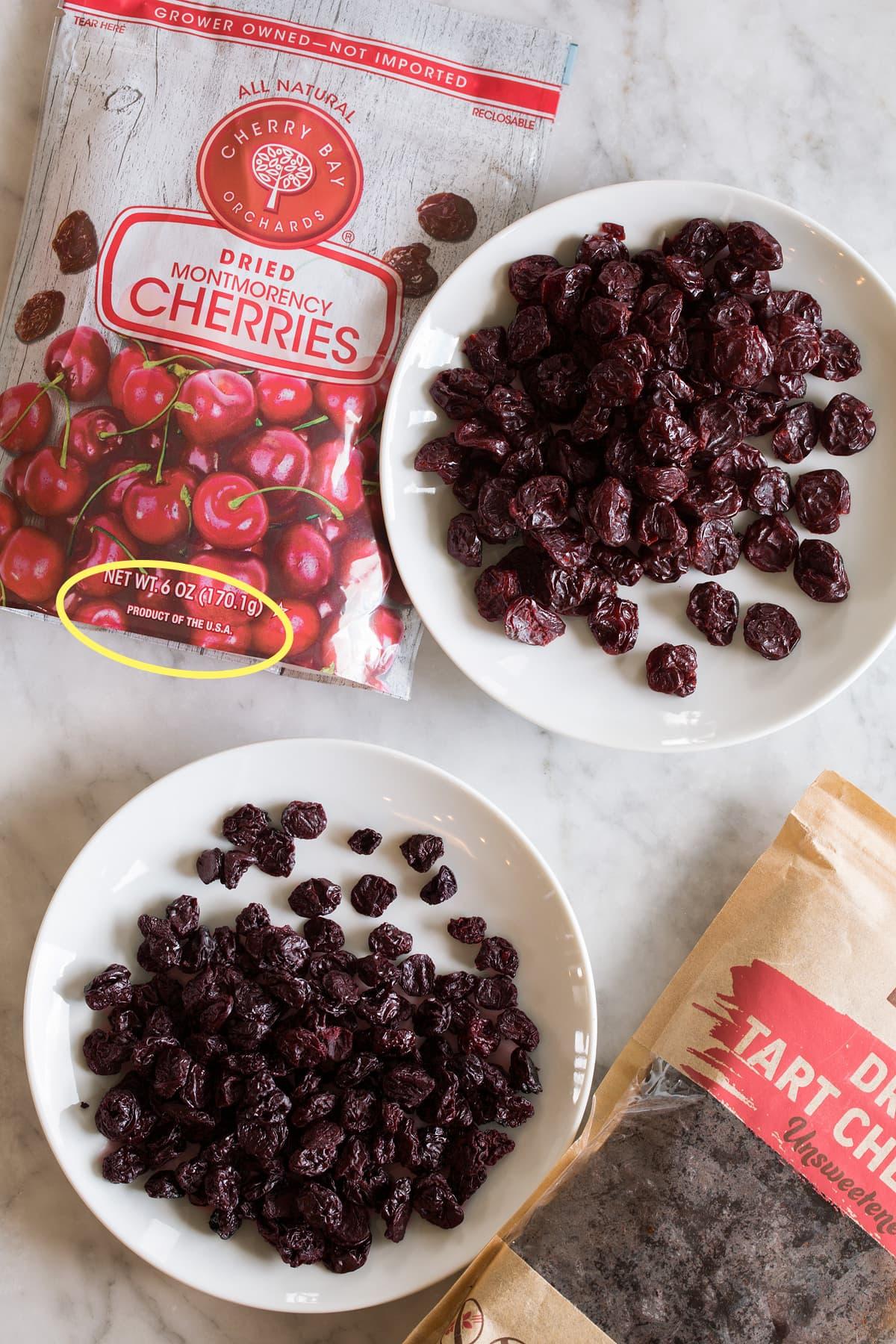Dried cherry comparison photo U.S. local vs. imported.