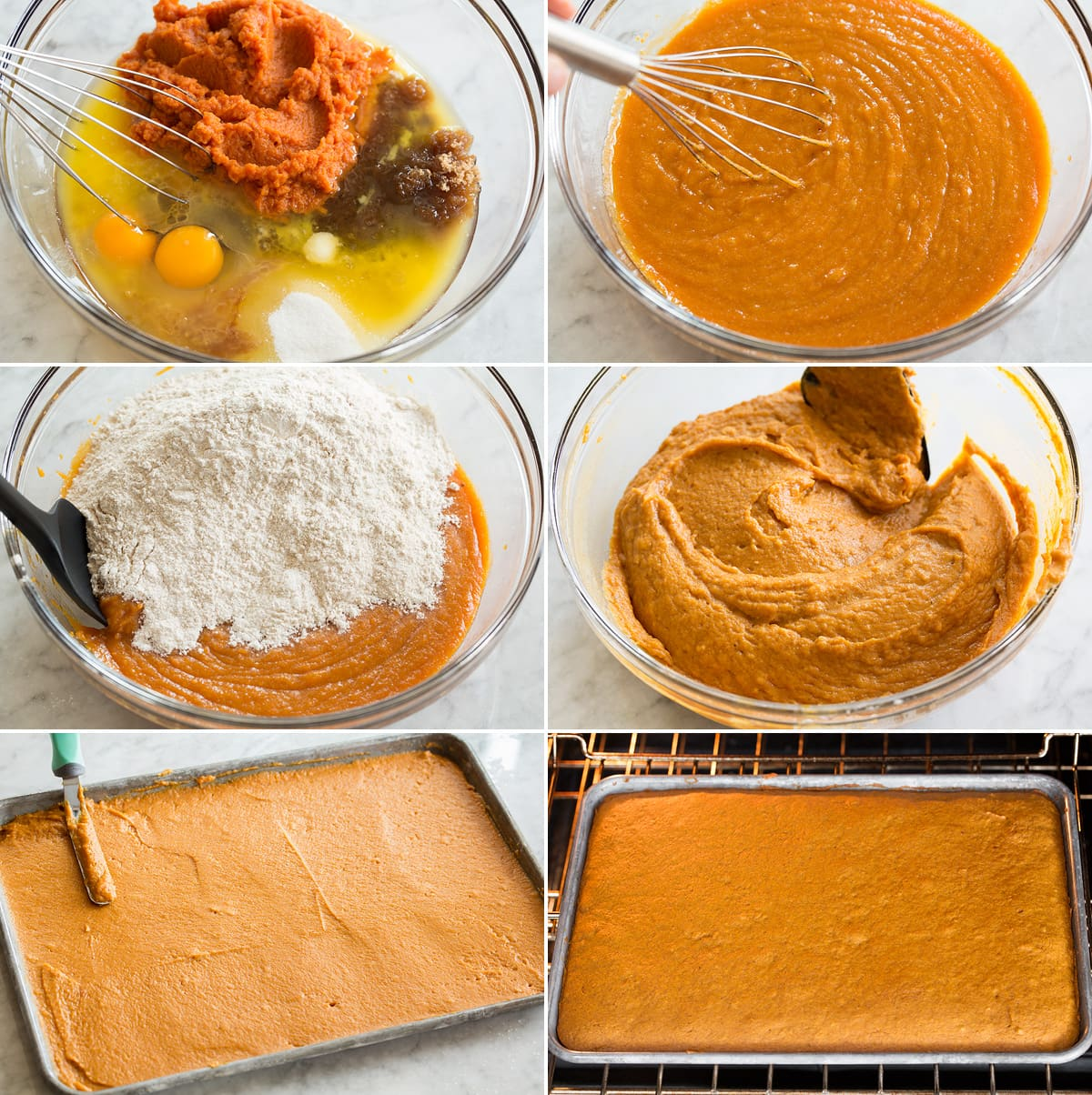 Collage of six photos showing steps to make pumpkin bars. Includes combining wet and dry ingredients, spreading into pan, and baking.