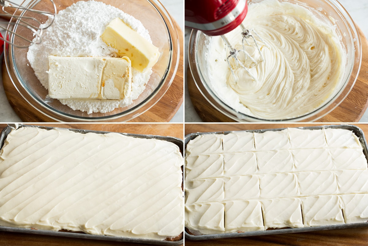 Four photos showing steps of making cream cheese frosting and spreading over bars.