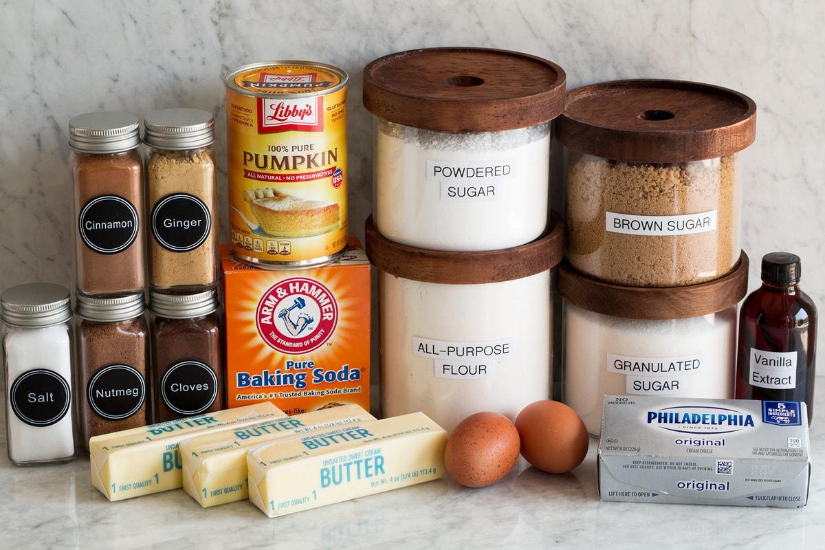 Photo of ingredients used to make pumpkin bars.