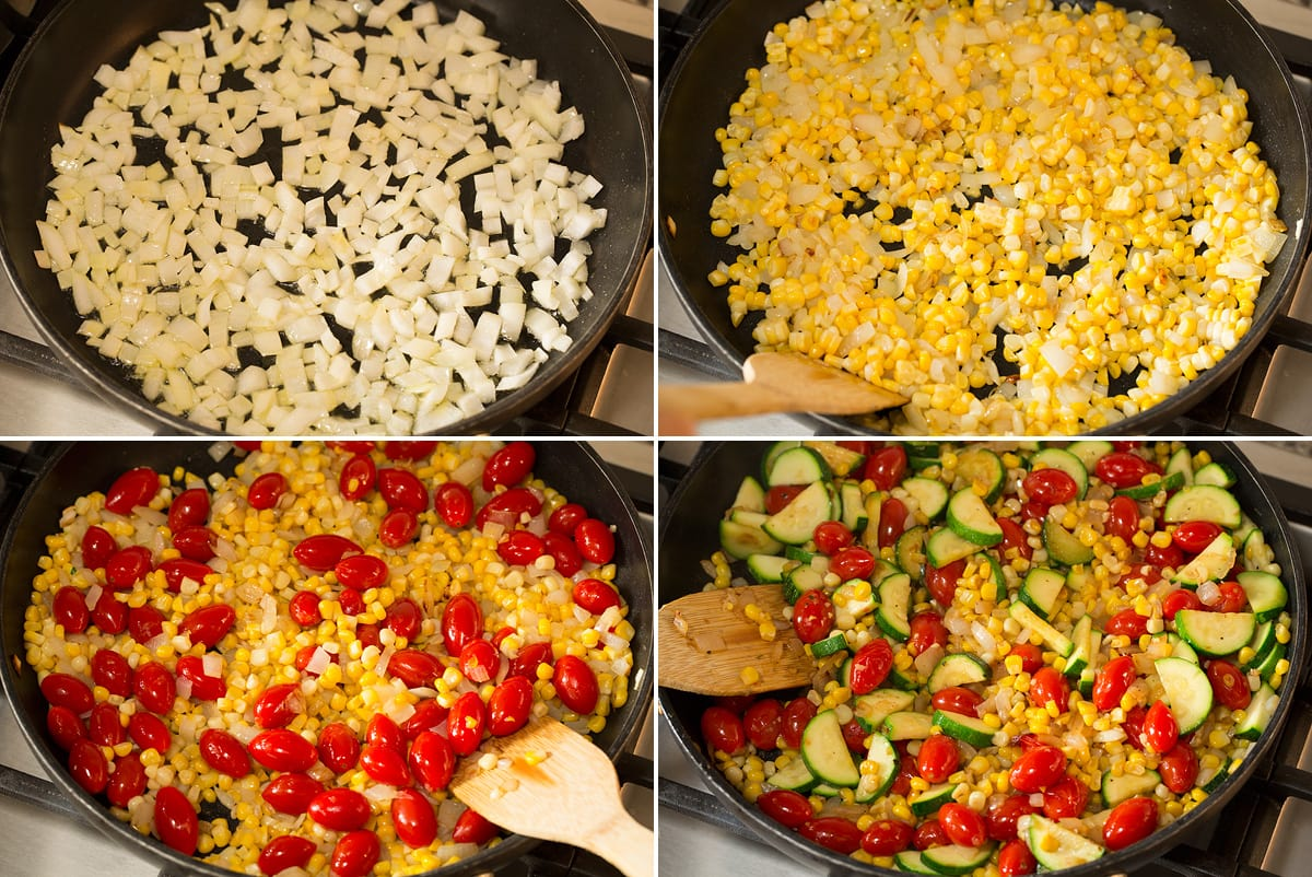 Collage of four photos showing how to saute vegetables.