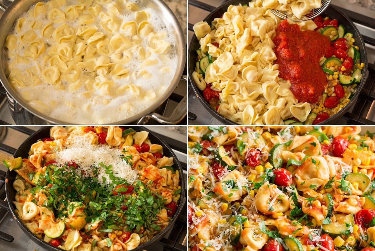 Photo: Collage of four photos showing how to cook tortellini and toss with sauteed vegetables and sauce.