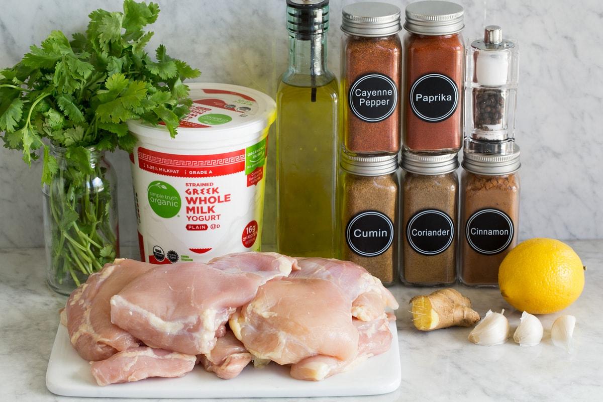 Ingredients used to make yogurt marinade grilled chicken.