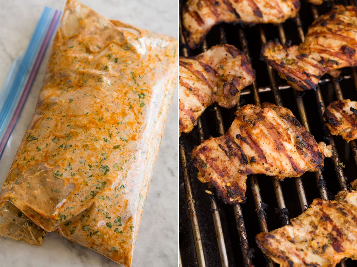 Collage of two photos. Chicken thighs in yogurt marinade in a ziploc, then showing chicken being grilled.