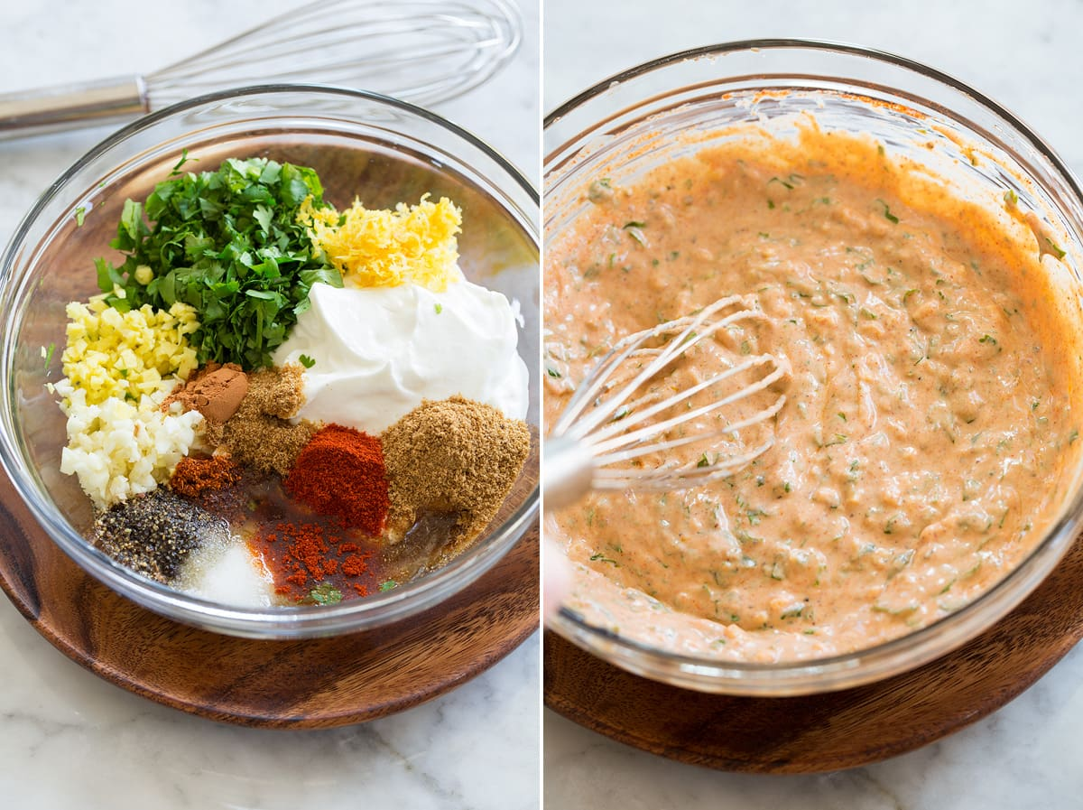 Collage of two photos showing yogurt marinade before and after mixing.