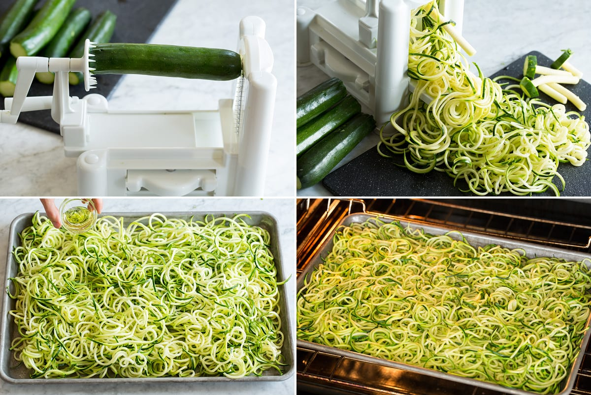 Collage of four photos showing process of making zucchini noodles.