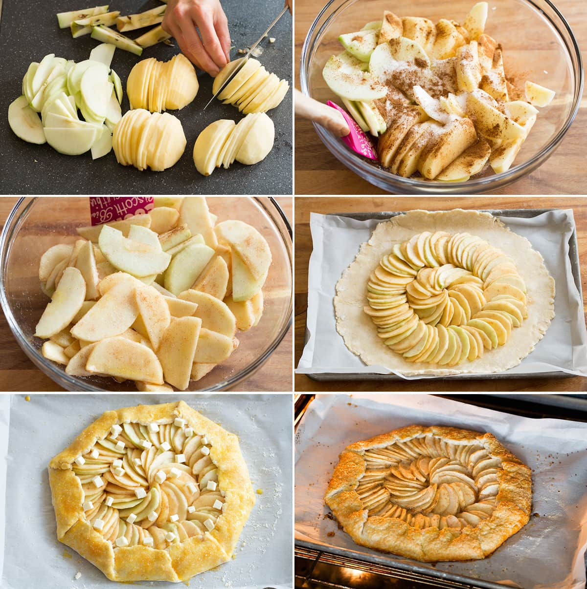 Collage of six images showing how to make apple topping for galette and assemble the gallete. Also shows it baking in the oven.