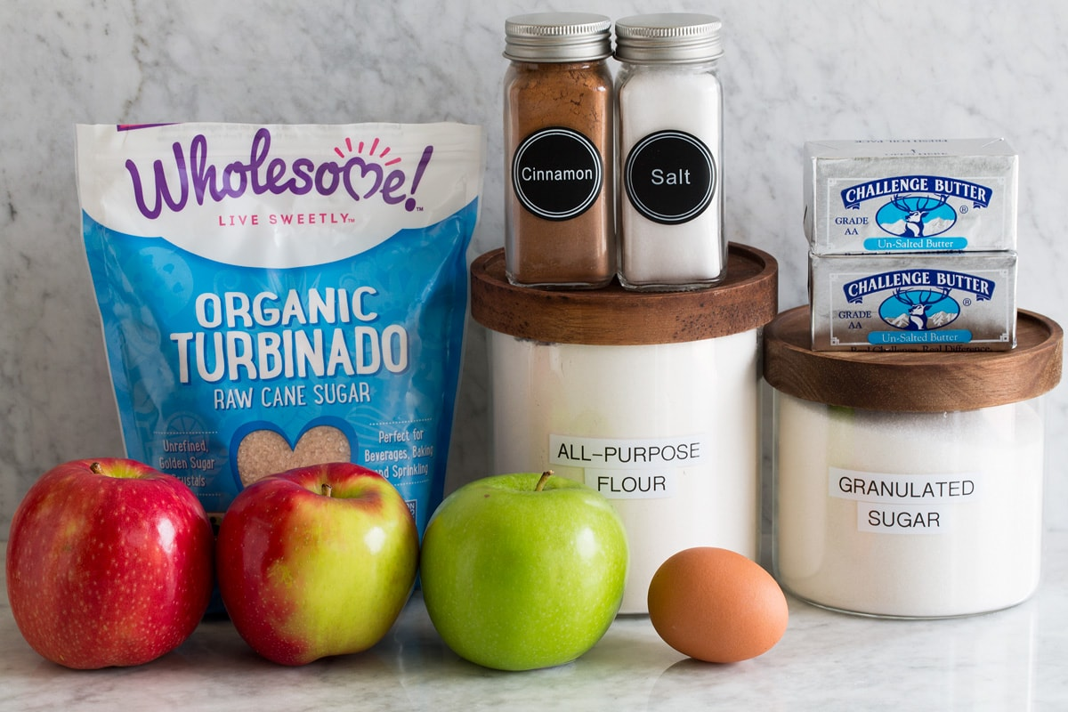 Photo of ingredients used to make an apple galette.