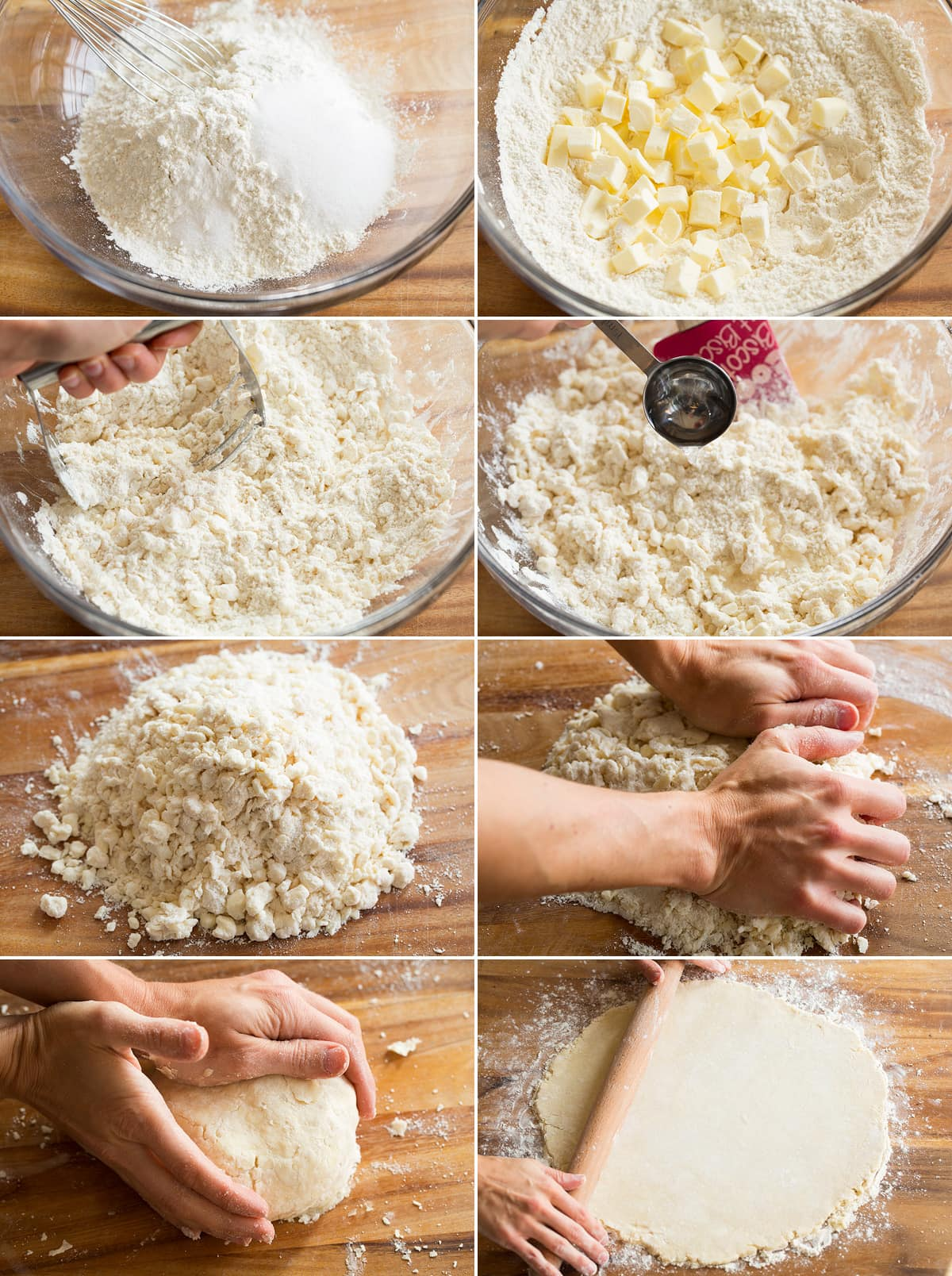 Collage of eight images showing steps of making a galette crust.