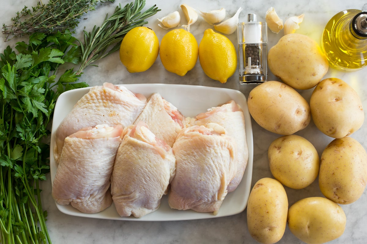 Photo of ingredients used to make baked lemony chicken with potatoes.
