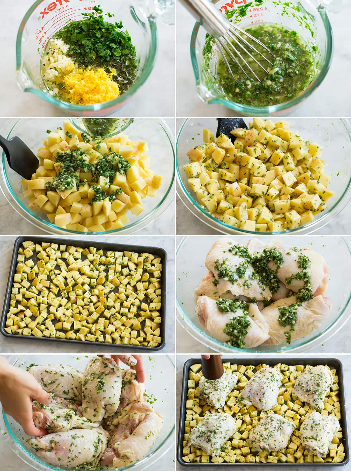 Collage of eight photos showing how to make one pan chicken and potatoes. Includes making herb seasoning, tossing with potatoes, spreading on pan. Then tossing chicken with herb mixture and spreading over potatoes on pan.