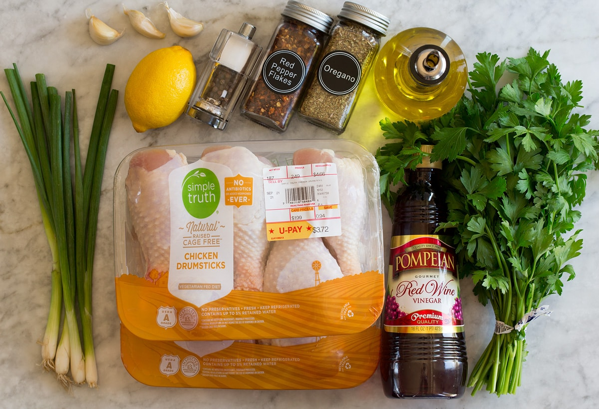 Photo of ingredients used to make baked chicken legs and the marinade.