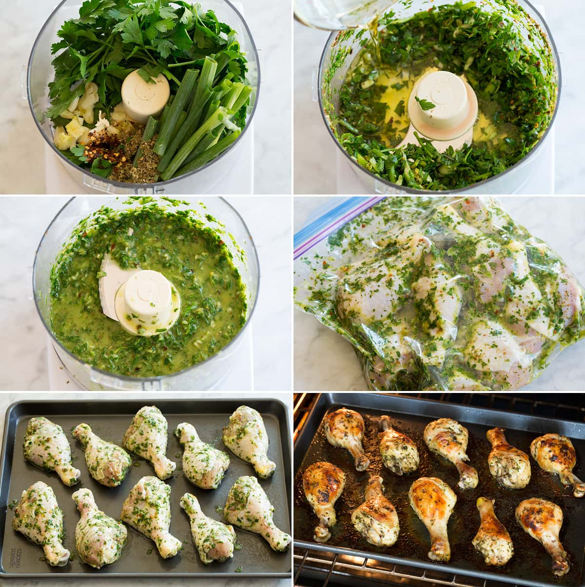 Collage of six images showing how to make a marinade in a food processor. Then shows covering chicken drumsticks in herb marinade mixture. And last shows drumsticks on baking sheet before and after baking.