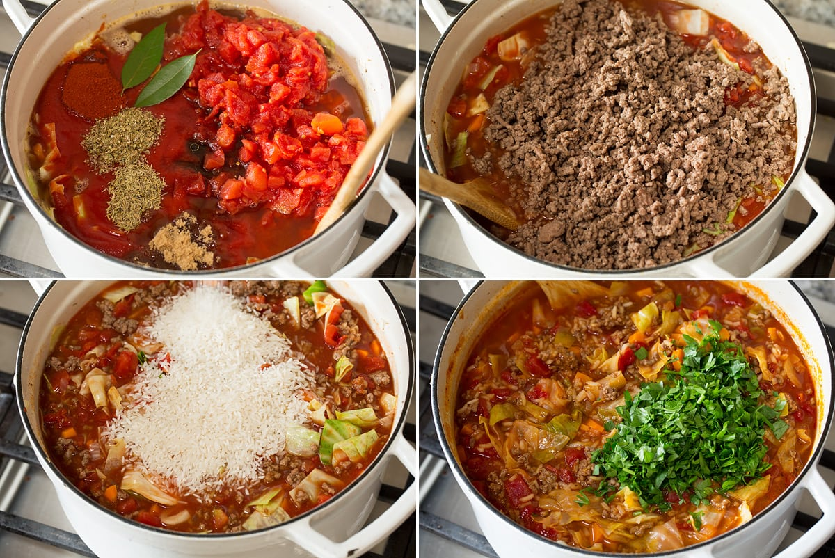 Collage of four photos showing continued steps of making cabbage roll soup.