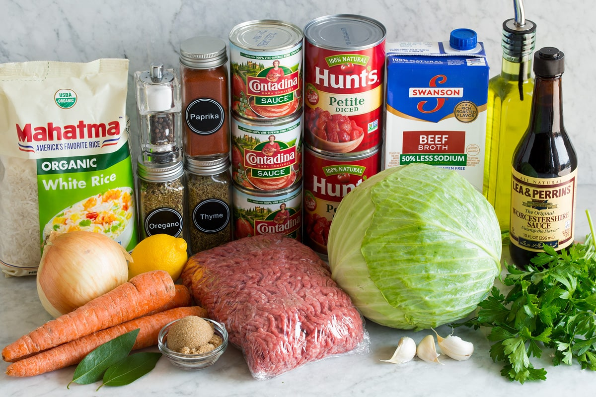 Photo of ingredients used to make homemade Cabbage Roll Soup