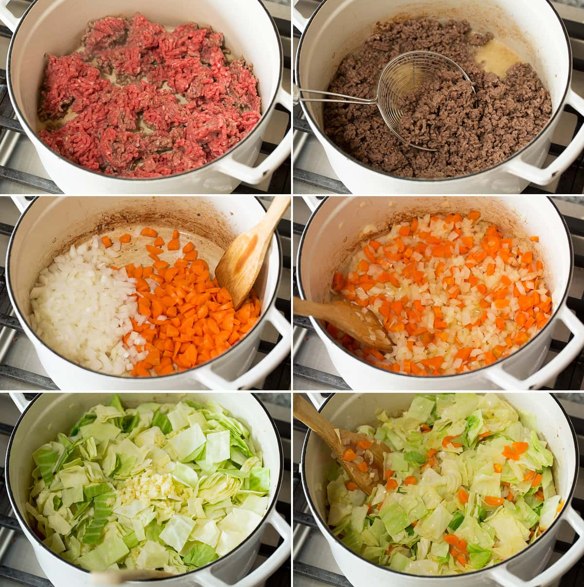 Collage of six photos showing steps of making cabbage roll soup in a pot. Includes browning beef then sauteing carrots and onion, then sauteing cabbage.