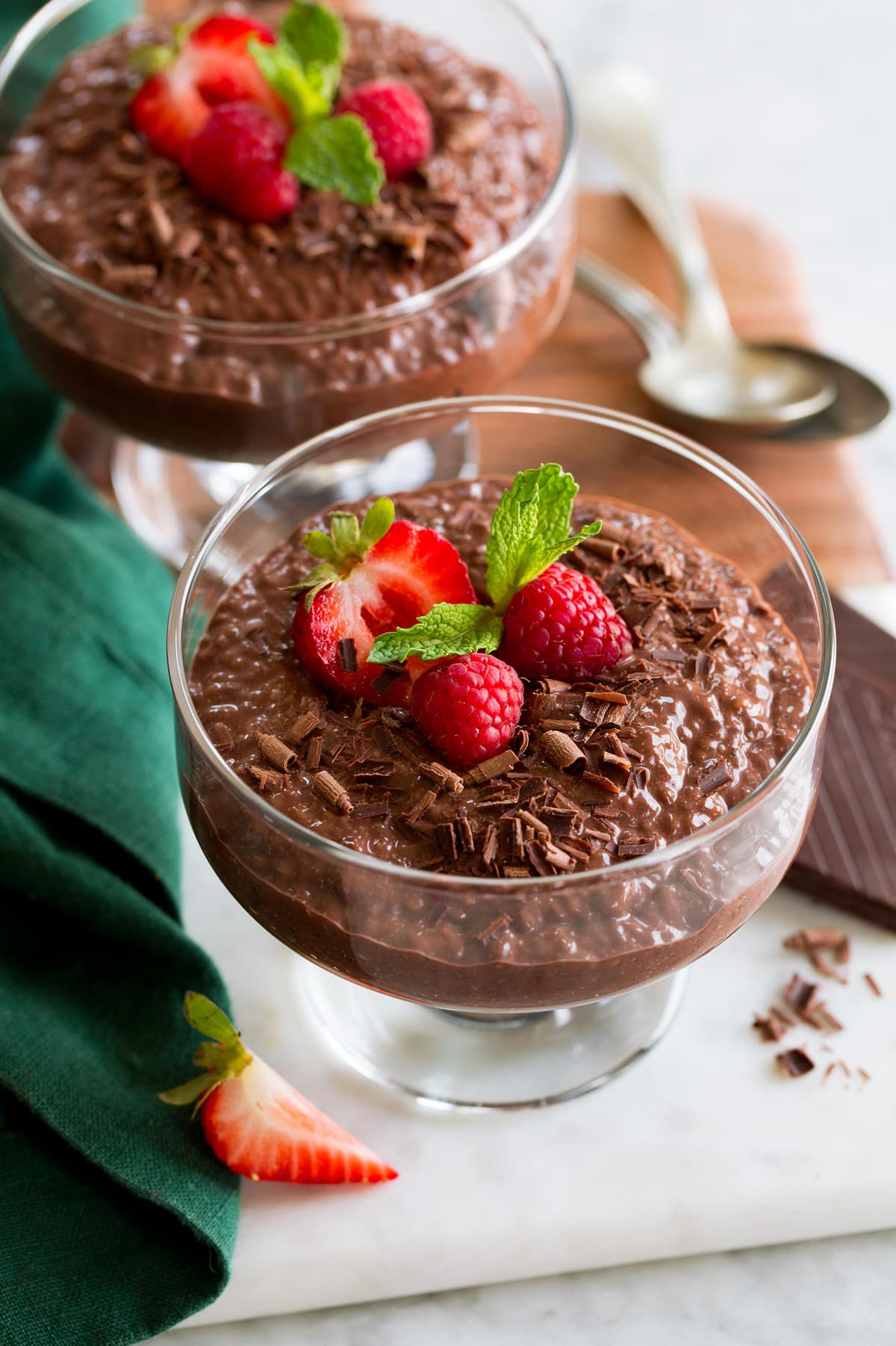 Chocolate Chia Pudding in a wide glass dessert cup.