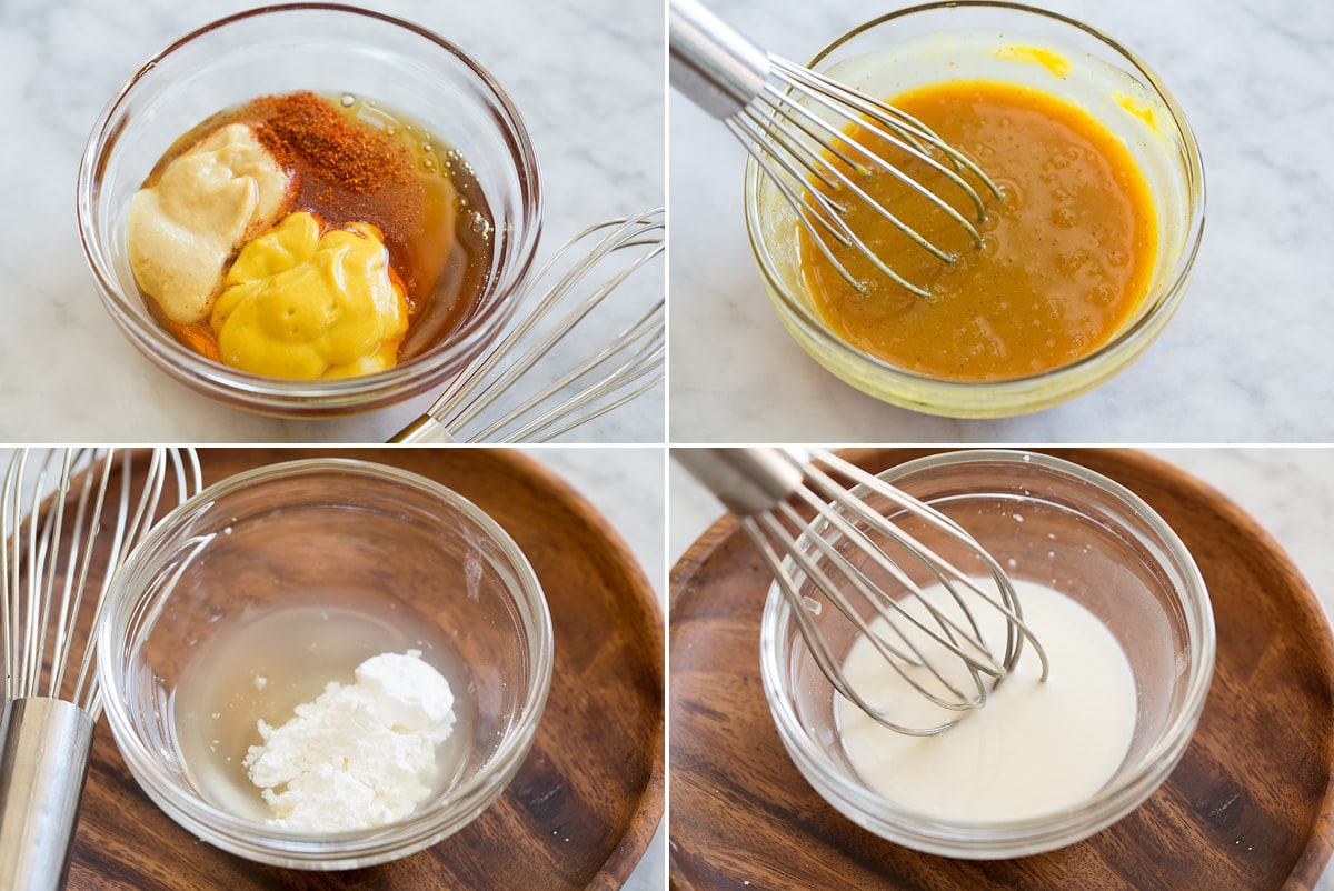Four photos showing steps of making sauces.