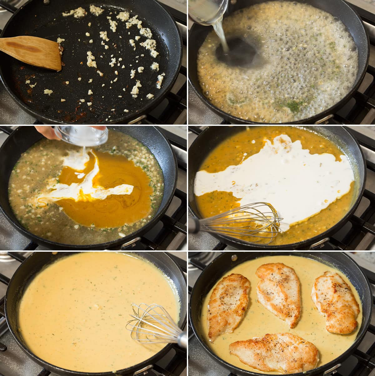 Six photos showing steps of making honey mustard pan sauce and adding cooked chicken.