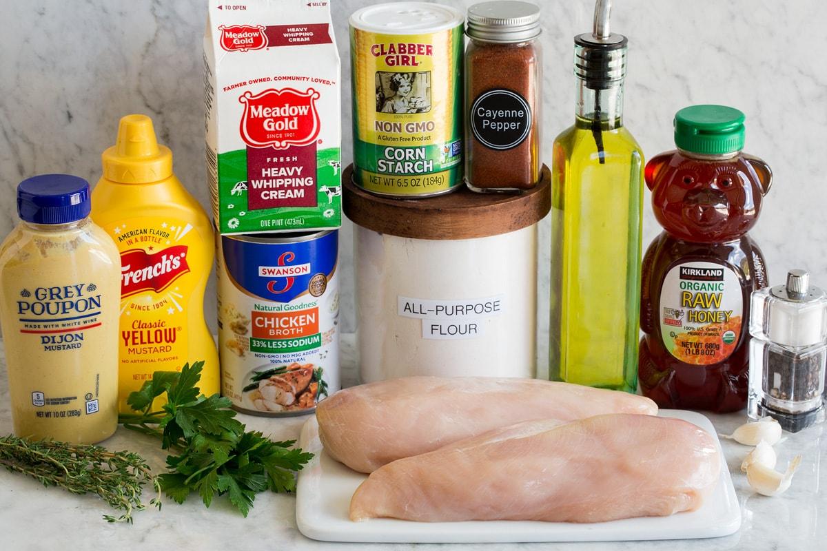 Photo of ingredients used to make honey mustard chicken.