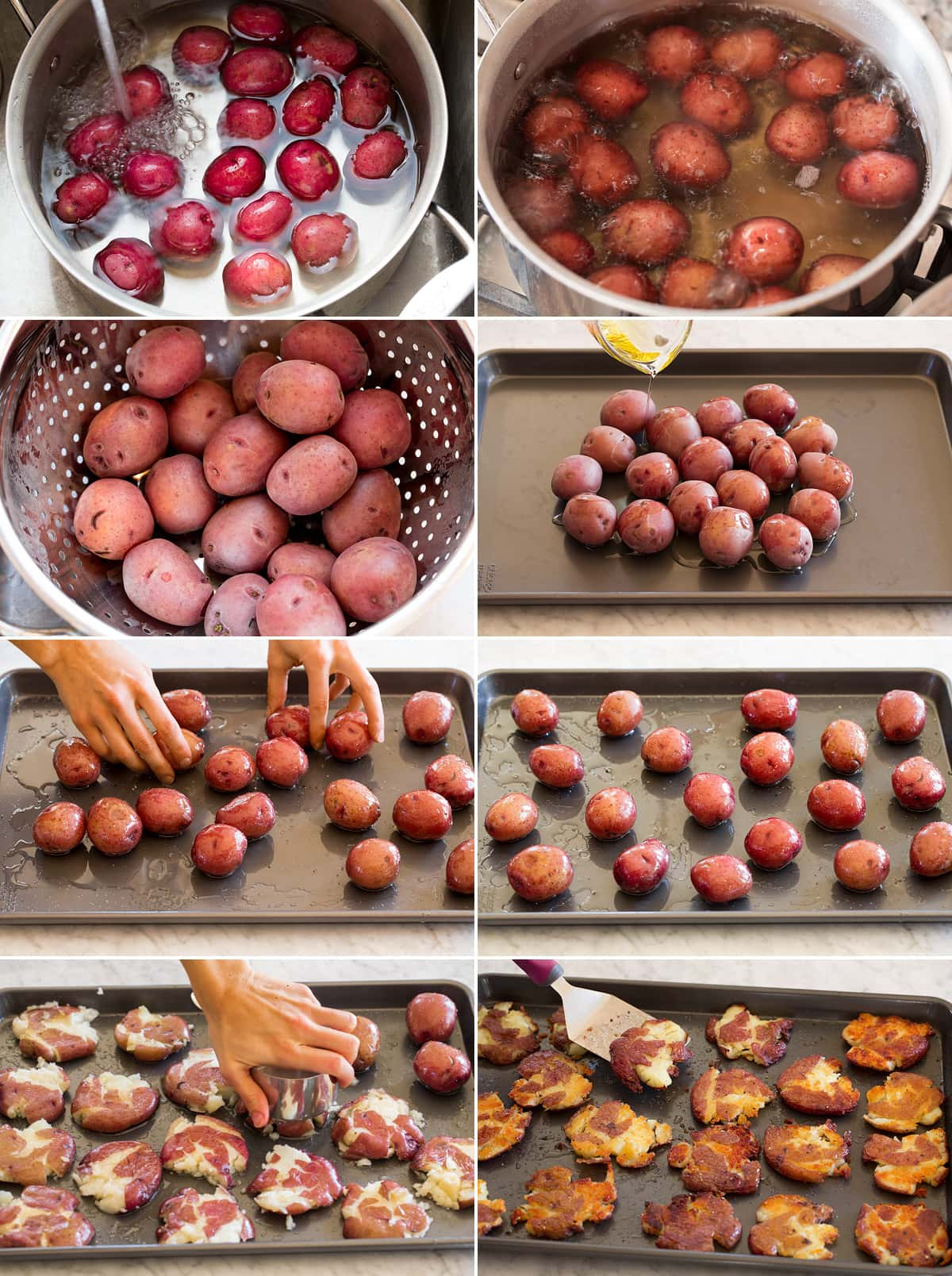 Collage of eight photos showing steps to make smashed potatoes on a baking sheet.