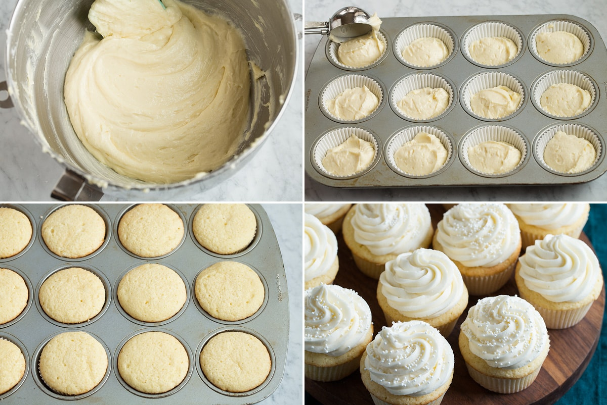 Collage of four images showing completed batter, pouring cupcakes into cupcake pan, baked cupcakes and frosted cupcakes.