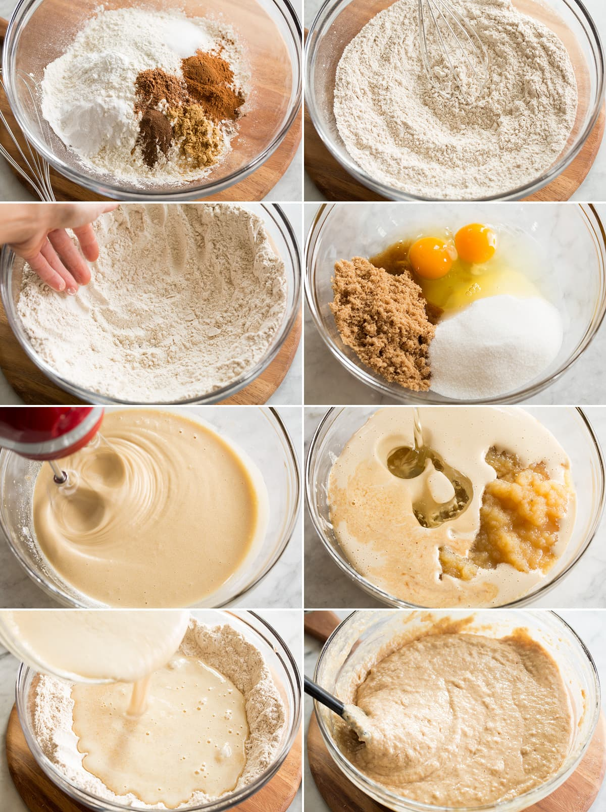 Collage of eight photos showing steps of making applesauce cake batter in mixing bowls.