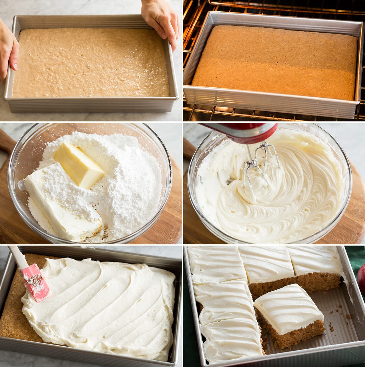 Collage of 6 images showing applesauce cake in pan before and after baking. Then shows making cream cheese frosting and frosting cake.