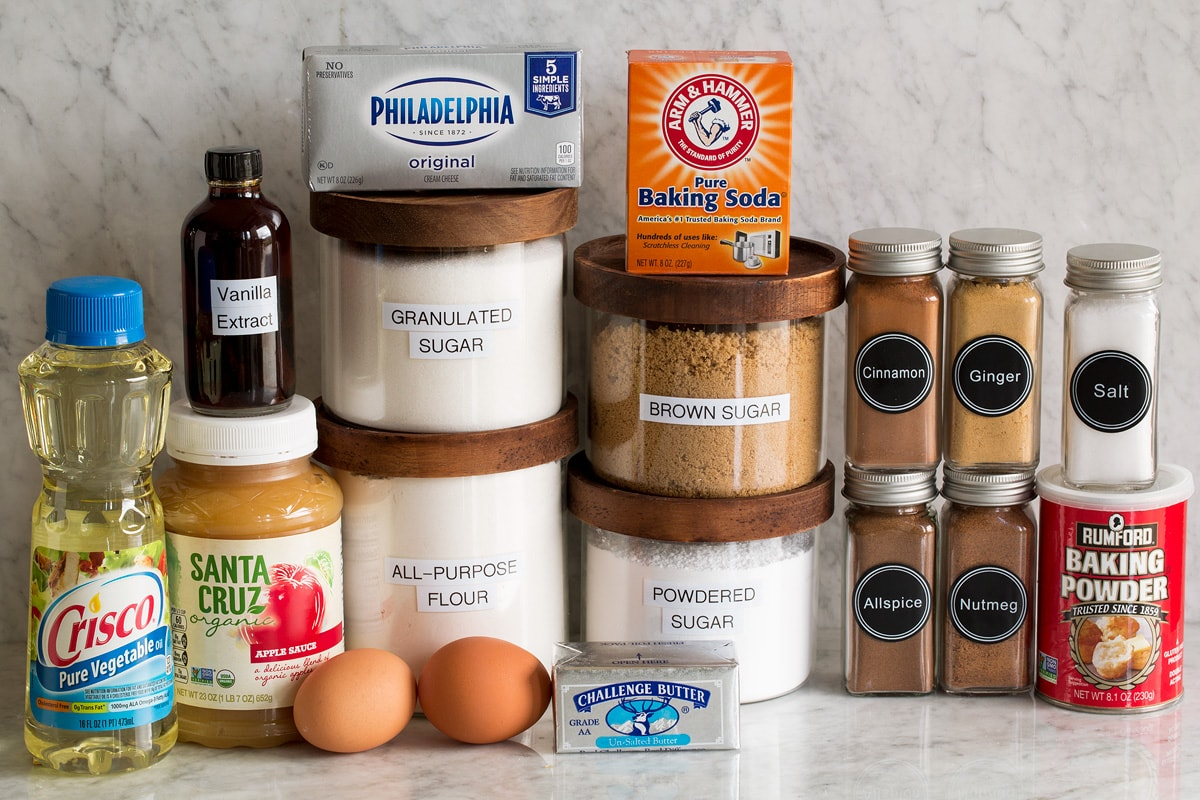 Photo of ingredients needed to make applesauce cake.