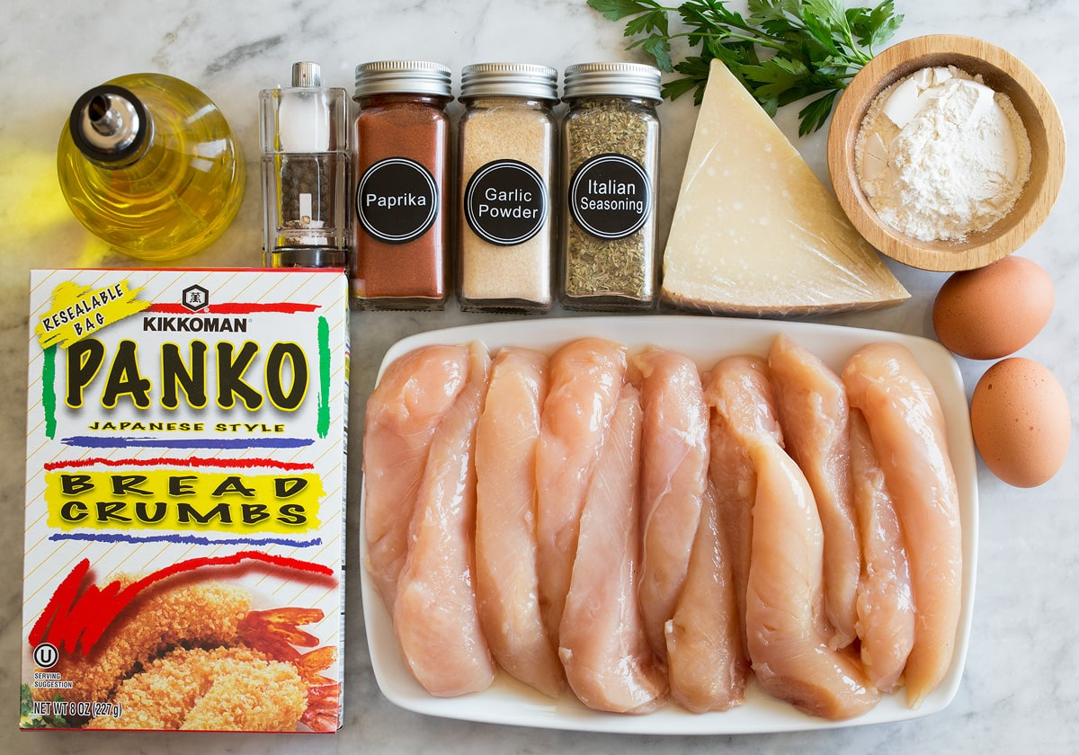 Photo of ingredients used to make baked parmesan chicken tenders with panko.