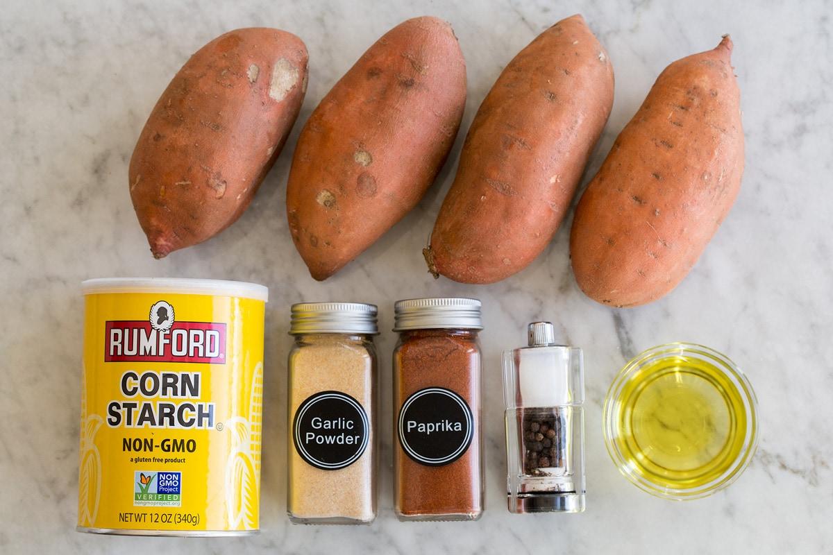 Photo of ingredients used to make sweet potato fries.